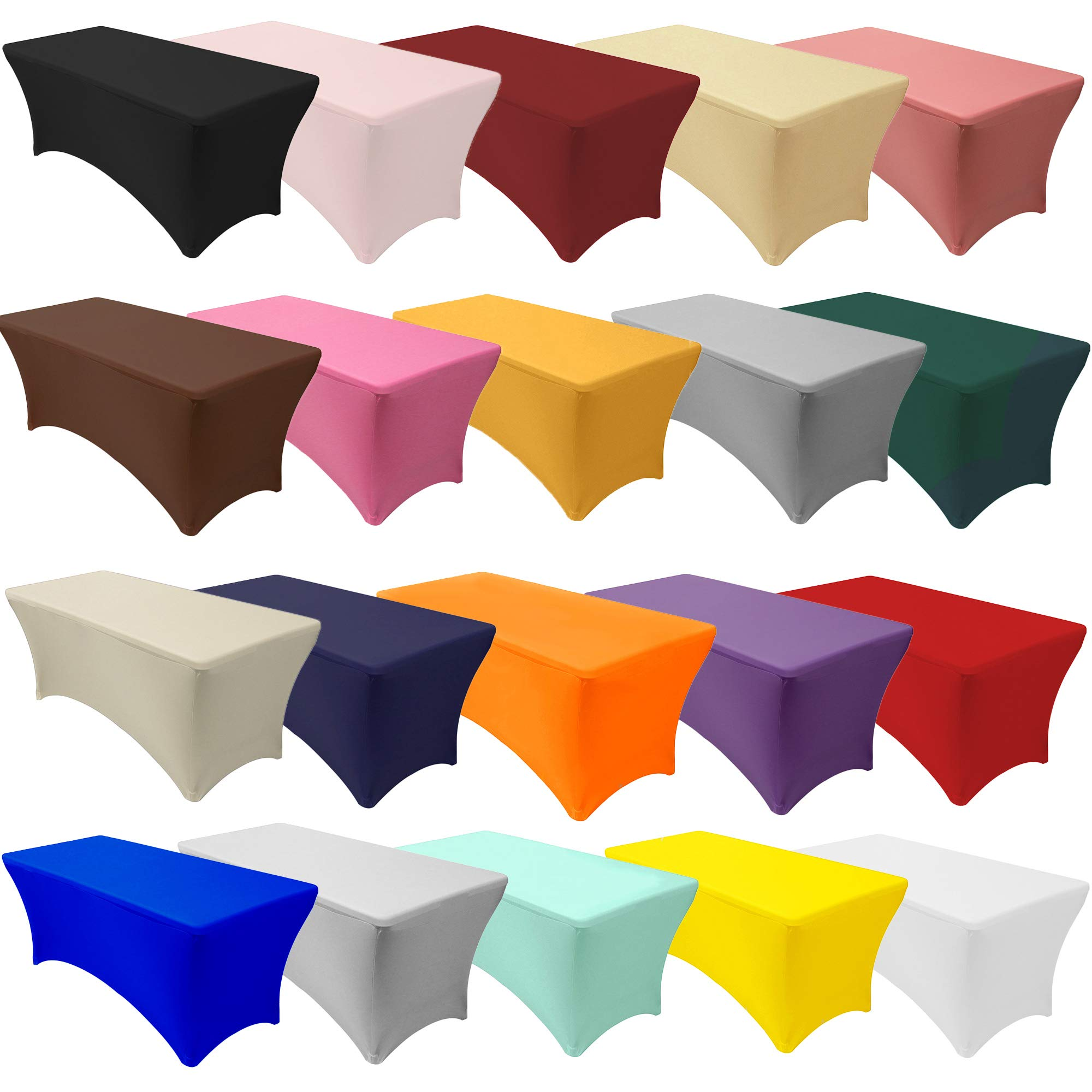 Your Chair Covers - 8 ft Rectangular Fitted Stretch Spandex Table Cover for 96'' Length x 30'' Width x 30'' Height Fitted Tablecloth for Standard Folding Tables - Black by Your Chair Covers