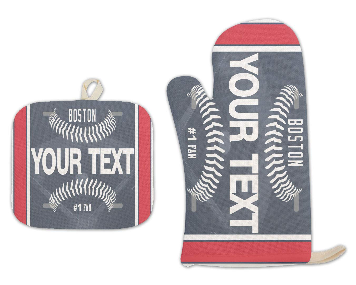 Bleu Reign BRGiftShop Personalized Custom Name Baseball Team Boston Linen Oven Mitt and Potholder Set