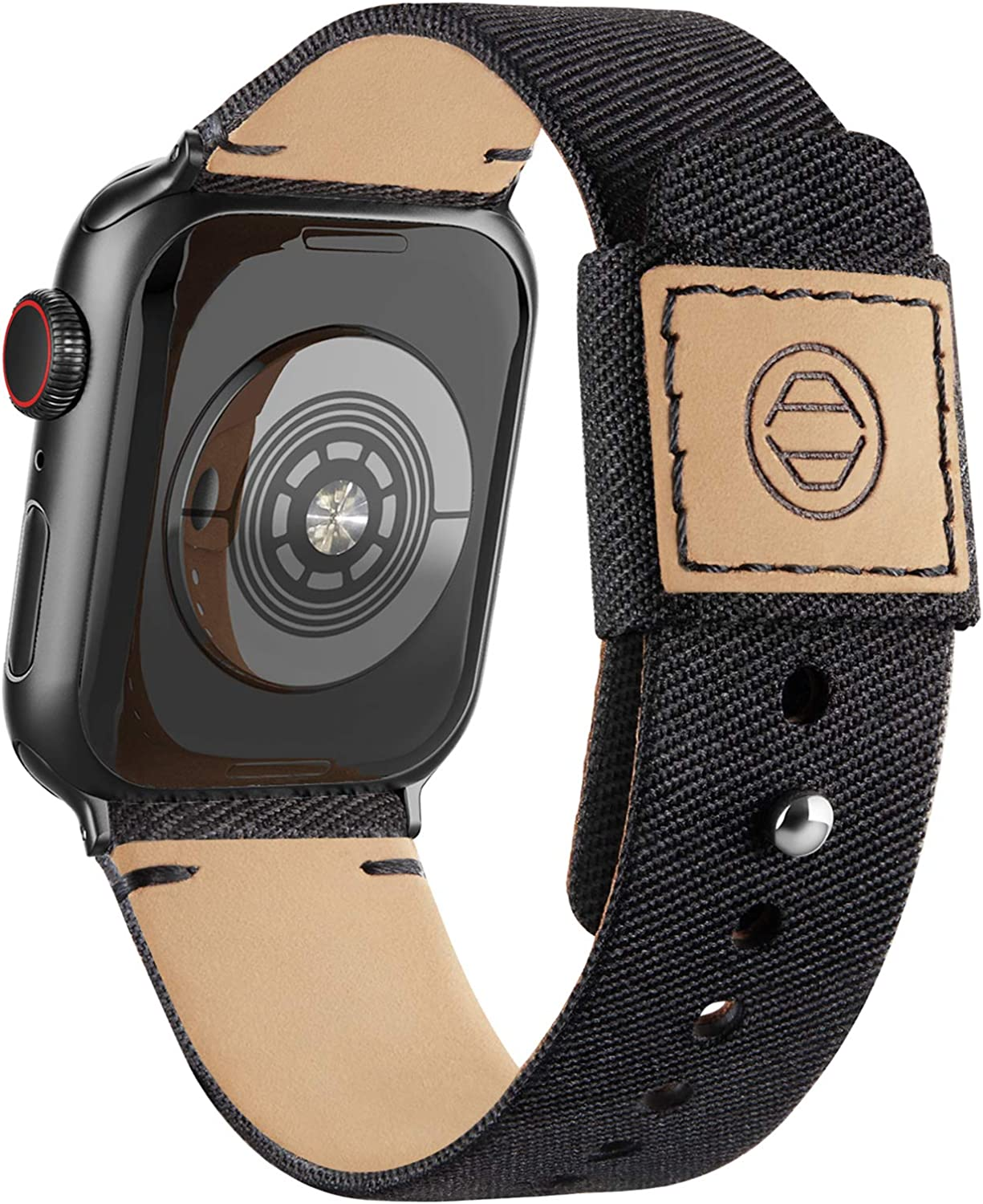Adepoy Fabric Cloth Bands Compatible with Apple Watch 44mm 42mm 40mm 38mm, Canvas Strap with Soft Genuine Leather Lining and Snap Button for Apple iwatch Series 6/5/4/3/2/1 SE,Black 42/44mm
