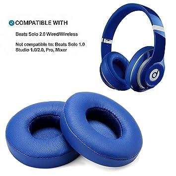 Reemplazo de Almohadillas, WADEO 2 Piezas Cojín de Almohadillas de Espuma para Beats Solo 2.0 Auriculares con Cable/inalámbricos(Azul-Inalámbrico): ...