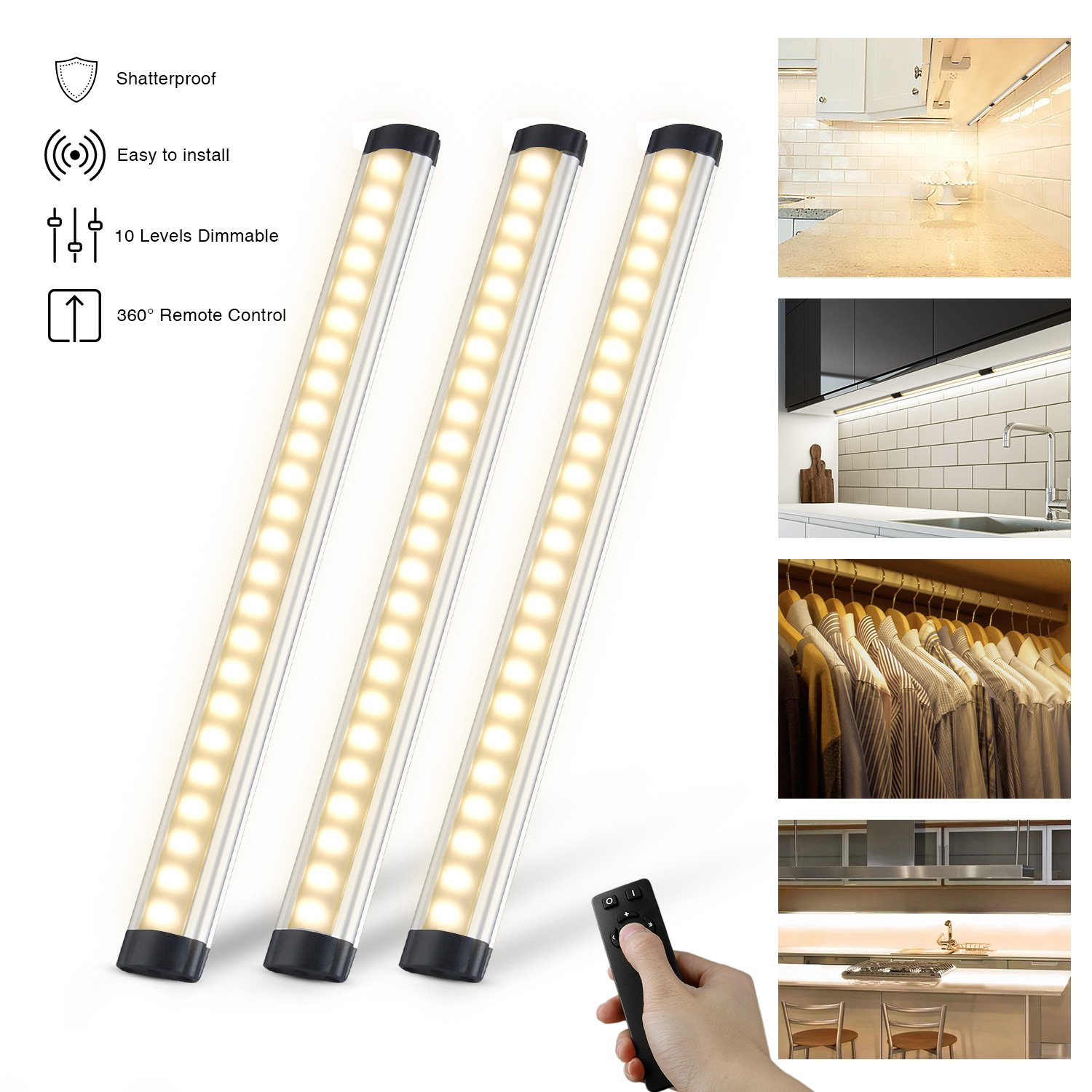 Dimmable Under Cabinet Lights Kitchen Lighting with Controller LED Closet Lighting 12W, 900LM, 3000K Warm White Under Counter Lighting for Closet/Wardrobe/Drawer/Cupboard Haibei