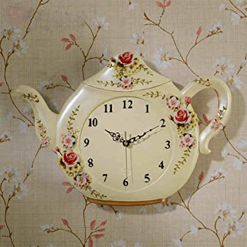 Creativo Retro tetera Resina reloj de pared Reloj de cuarzo decoración reloj de pared Cuarto Mudo Reloj de bolsillo Artesanía: Amazon.es: Hogar