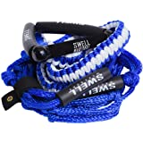 "SWELL Wakesurf 25' Premium Braided Rope with 10"" Handle - Wake Surfing Rope"