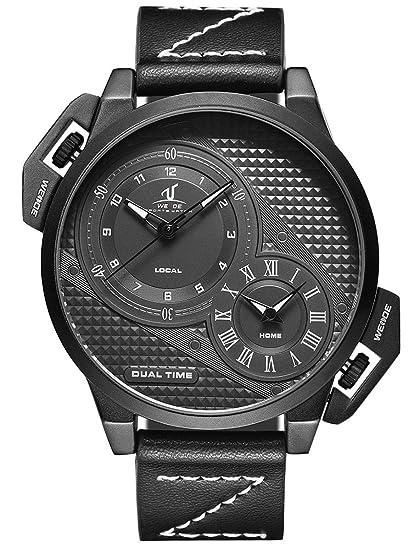 Alienwork Reloj Hombre Relojes Piel de Vaca Negro Analógicos Cuarzo Impermeable XXL Oversized: Amazon.es: Relojes