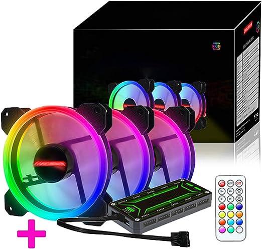 ZXLLAFT Ventilador RGB 120Mm Dual Halo PC, 3 Ventiladores + 1 ...