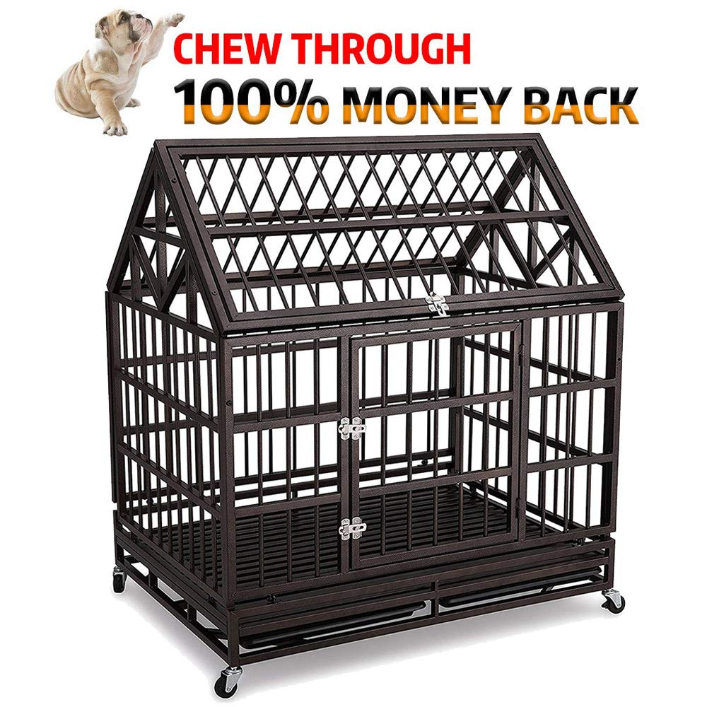 Haige Pet Your Pet Nanny Heavy Duty Dog Crate Cage Kennel Strong Metal for Large Dogs, Easy to Assemble Pet Playpen with Patent Lock & Four Wheels by Haige Pet Your Pet Nanny (Image #1)