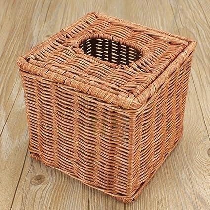 GAIHU Caja para Pañuelos de Ratán Creative Alquiler de Toallas de Papel Cartón de Bombeo Tubo