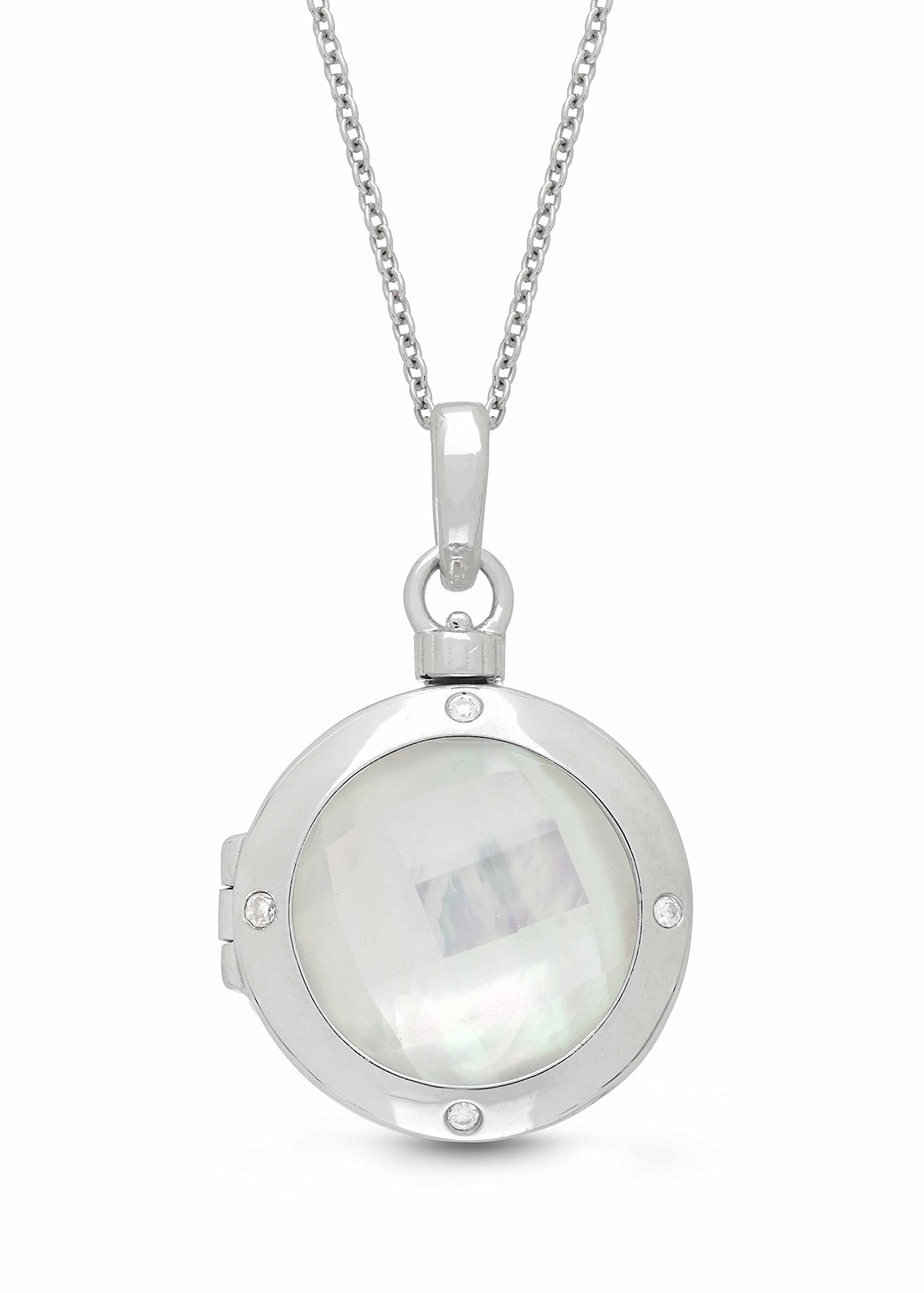 Sterling Silver-Diamond-MOP-Custom Photo Locket Necklace-22-inch chain-The Michelle by With You Lockets