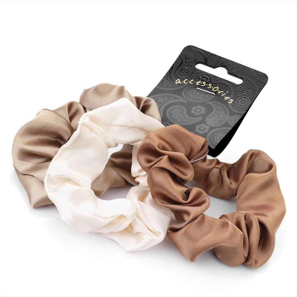 3 Piece Elasticated Satin Look Hair Scrunchie Accessory Set Brown Colours 3cm HA26657