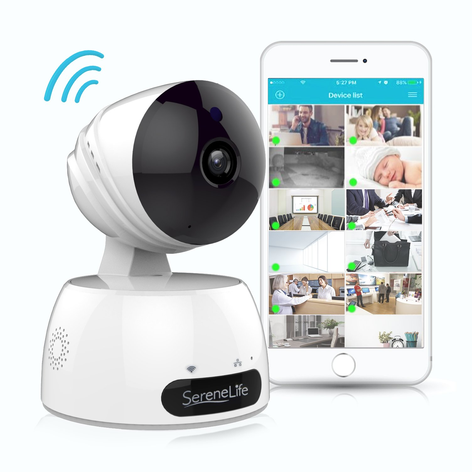 SereneLife Indoor Wireless IP Camera - HD 720p Network Security Surveillance Home Monitoring w/Motion Detection, Night Vision, PTZ, 2 Way Audio, iPhone Android Mobile App - PC WiFi Access - IPCAMHD30 by SereneLife