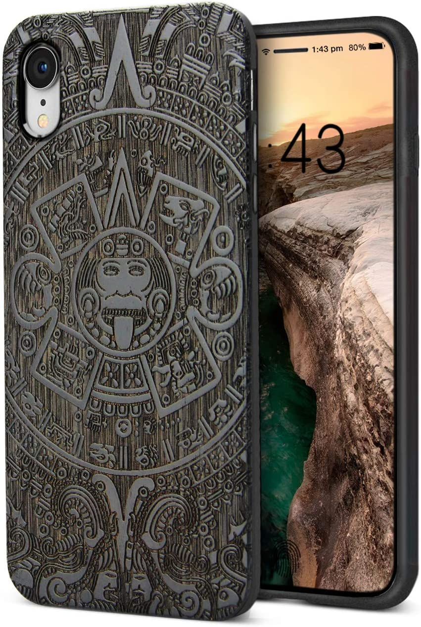 YFWOOD Compatible for iPhone XR Case Wooden, Real Walnut Wood Engraved Totem Design Slim Anti-Slip Grip Scratch Resistant Hybrid Thin Protective Cover for iPhone XR