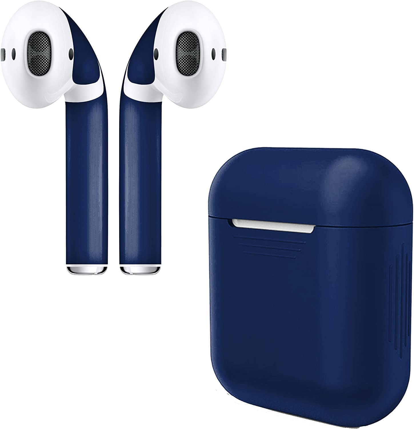 APSkins Silicone Case and Stylish Skins Compatible with Apple AirPod Accessories (Midnight Blue Case & Skin)