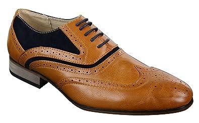 081c02e866fbd Chaussures Homme Cuir et Daim Style Brogue Vintage Gatsby Marron Bleu Marine