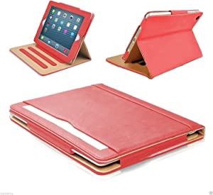 "S-Tech iPad Mini 1 2 3 Case Soft Leather Wallet Magnetic Smart Cover with Sleep/Wake Feature Flip Folio Stand Shockproof Case for Apple iPad Mini 7.9"" (red)"