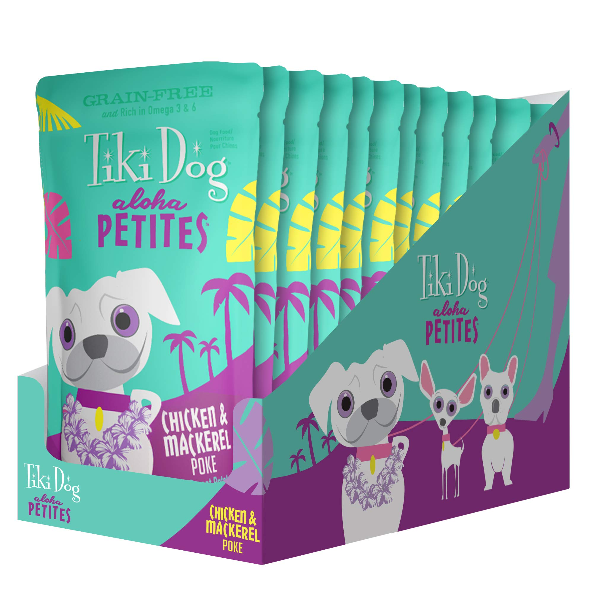 Tiki Dog Aloha Petites Gluten & Grain Free Wet Food in a Pouch for Adult Dogs with Shredded Meat & Superfoods, 3.5oz 12pk, Chicken & Mackerel Poke by Tiki Pets