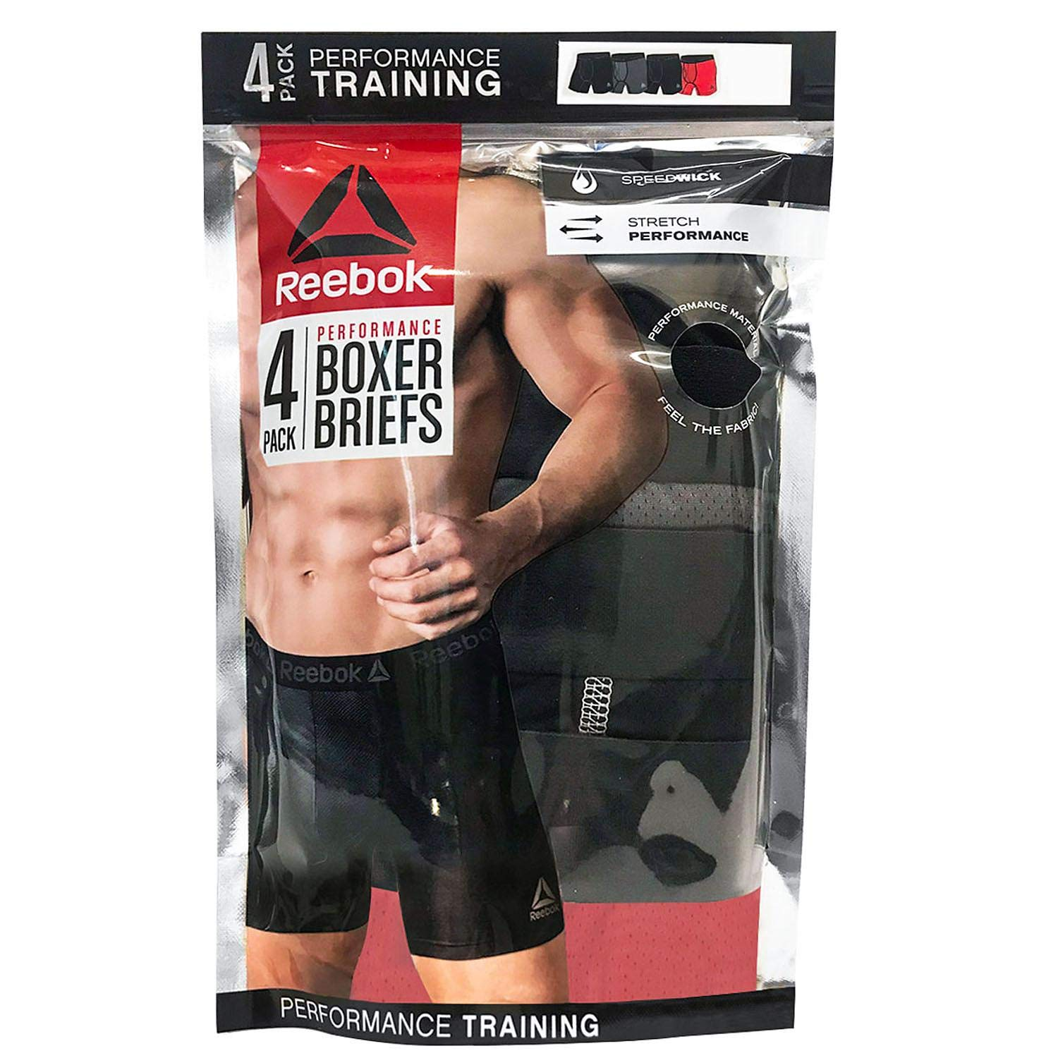 Reebok Mens 4 Pack Performance Boxer Briefs with Comfort Pouch