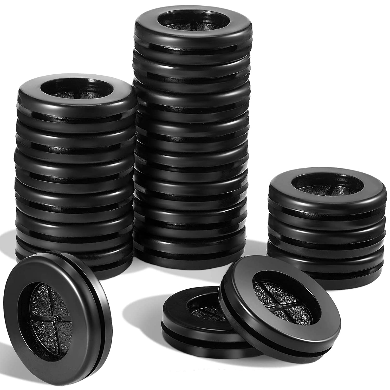 50 Pieces Double-Sided Rubber Grommet Wire Protection Grommets, 25/32 Inch Inside Diameter 1 Inch Drill Hole Plug Synthetic Rubber Grommets for Firewall Plug