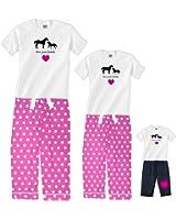 Horses with Pink Heart Matching Polka Dot Womens Pajamas & Girls Playwear