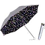 日傘 折りたたみ 晴雨兼用 UV <ひんやり傘>【LIEBEN-0577】 シルバー/チューリップ (ブラック)