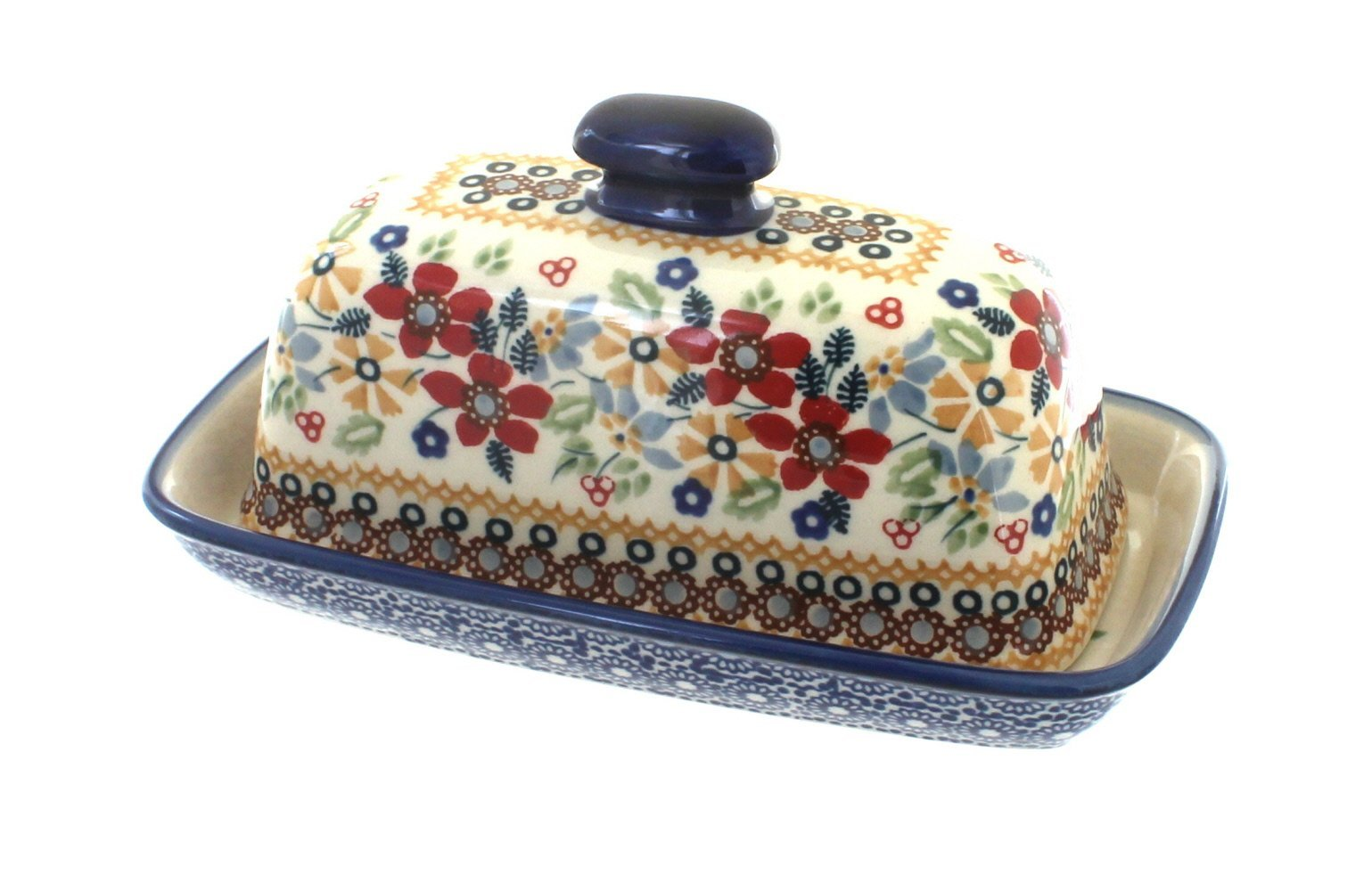 Polish Pottery Red Daisy Butter Dish