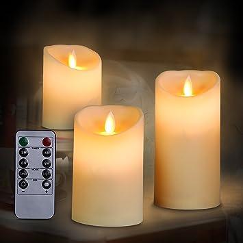 3 x LED Kerzen Timer flammenlose Echtwachskerzen Teelichter Warmweiß Nacht Deko