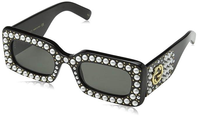 fada9b272b8 Amazon.com: Gucci GG 0146 S- 002 BLACK / GREY Sunglasses: Clothing