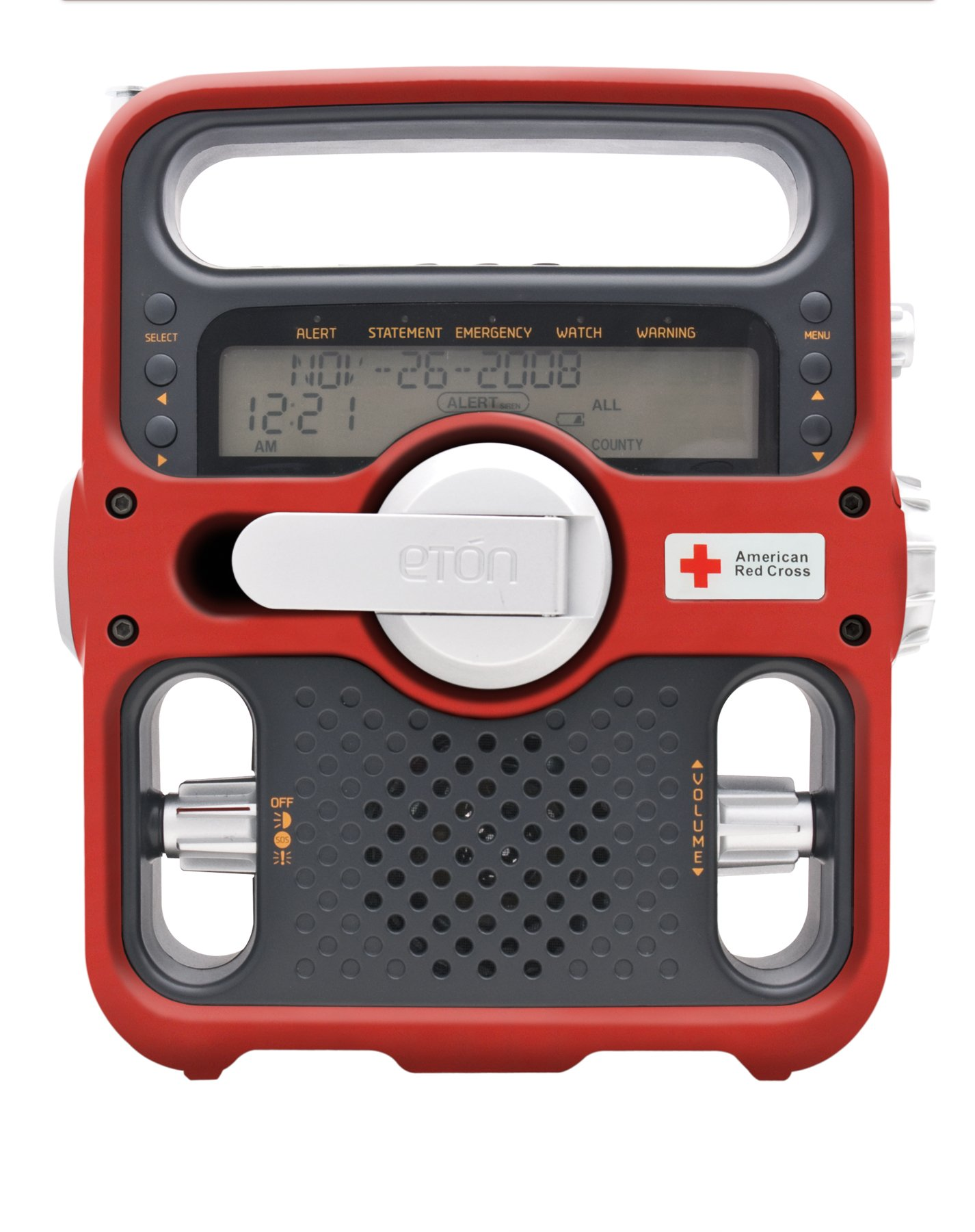 Eton American Red Cross ARCFR600R Solarlink Digital AM/FM/SW/NOAA S.A.M.E. Weather Radio with Flashlight, Siren, Solar and CellPhone Charger (Red) (Discontinued by Manufacturer)