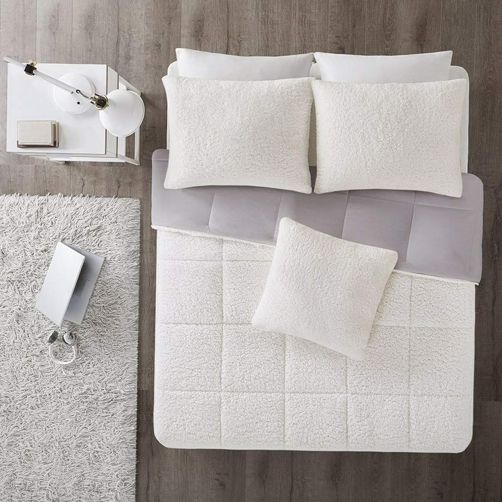 Kaputar New! ~ Ultra Soft Plush Cozy Reversible Grey Flannel Comforter Set   Model CMFRTRSTS - 3421   Twin Extra Long