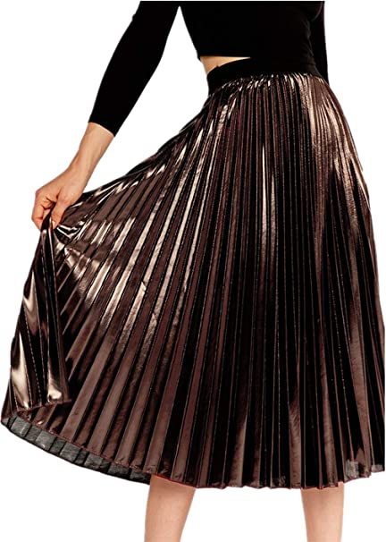 Falda de Mujer - Falda Plisada Vestido Largo con Cinturón Elástico ...