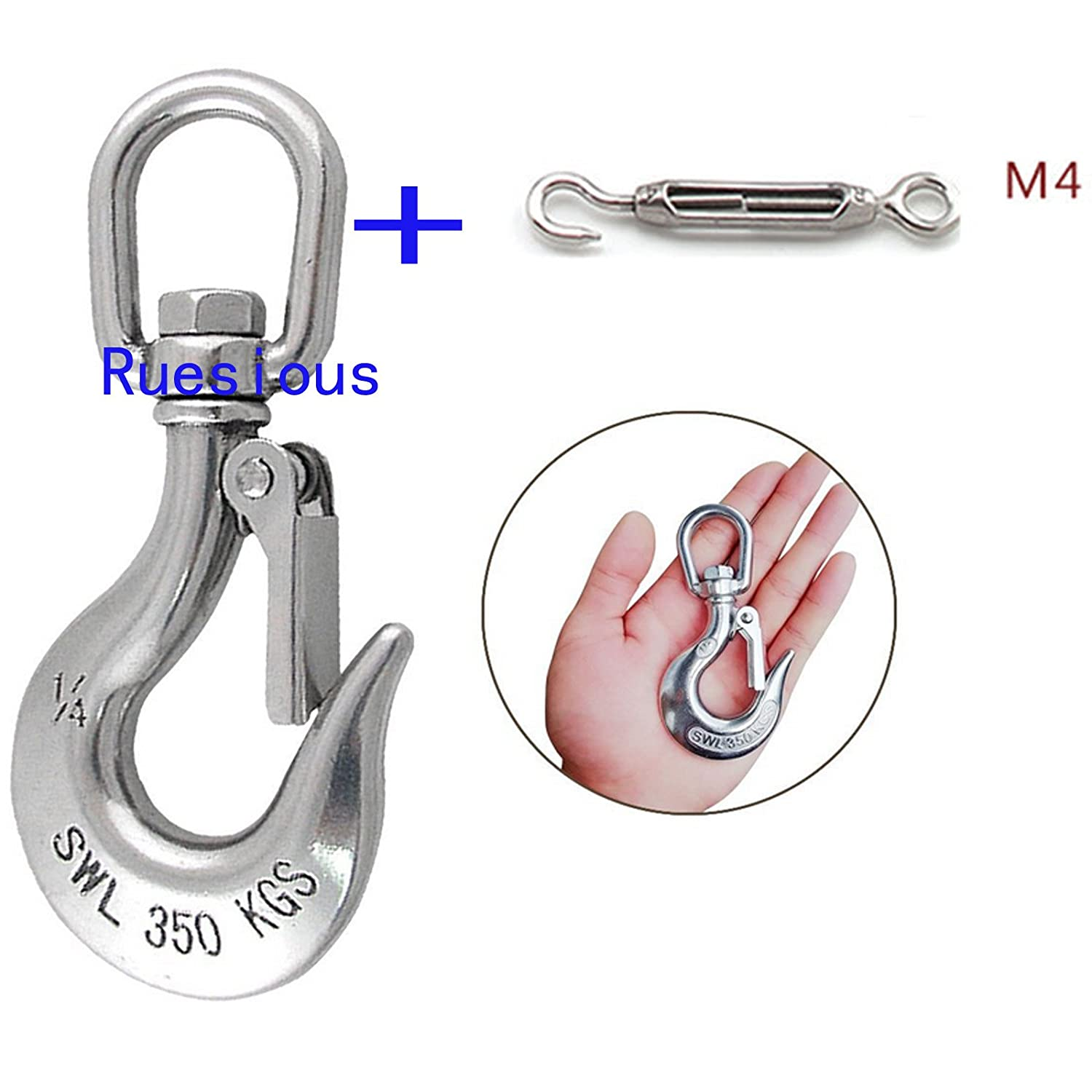Ruesious hanging chair/hanging chair rotary hook/cargo hook, stainless steel 770 pound capacity hammock rotary hook outdoor or indoor use