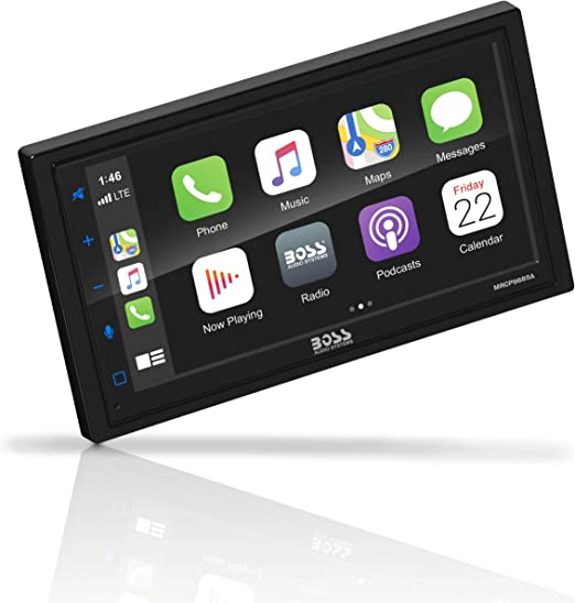 MP3 Player Double Din Car Stereo USB Port Aux Input BOSS Audio Systems BVCP9685A Apple CarPlay Android Auto Car Multimedia Player AM FM Car Radio 6.75 Inch LCD Touchscreen Monitor Bluetooth