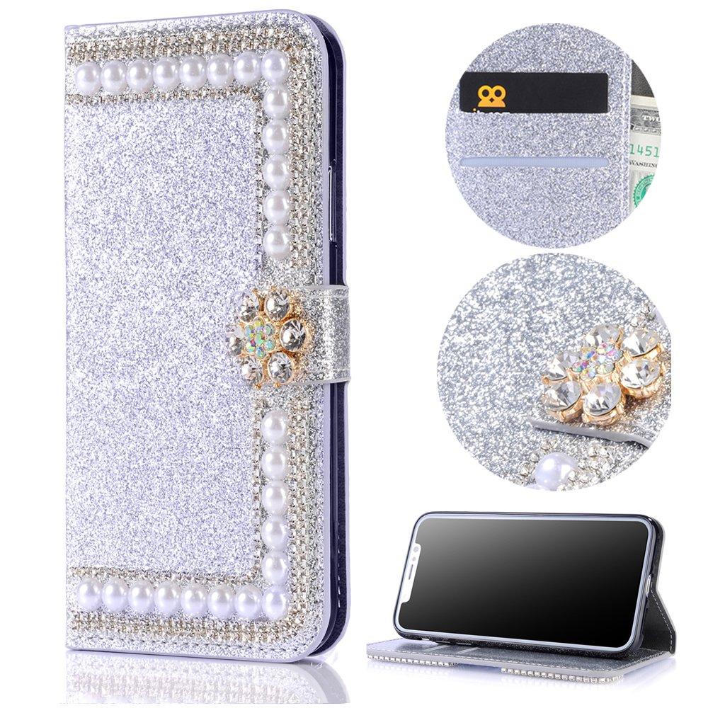 Sycode Galaxy Note 9 Diamant Hülle, Luxus Noble Elegant Galaxy Note 9 Bling Funkeln 3D Diamant Strass Gold Kette Muster Kristall Rhinestone Flip Brieftasche Hülle mit Magnetverschluß Kartensteckplätze Stilvoll Handtasche PU Leder Glänzend Flip Wallet Handy