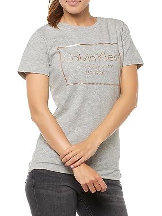 Grau Shirt T Damen Calvin Xs Bekleidung Klein XwxAwqCp