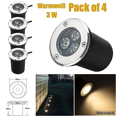 Hochwertiger LED Bodeneinbaustrahler wasserfest 1,2 Watt Terrasse 230V Aussen