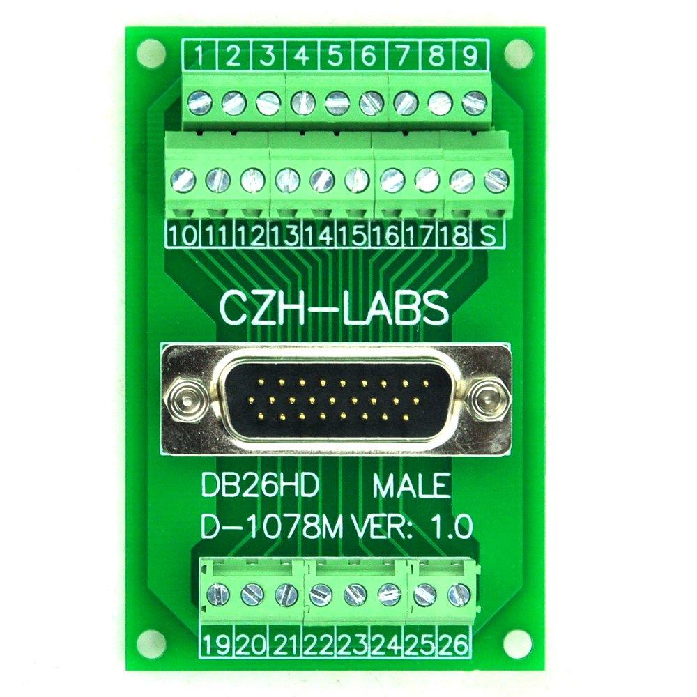 Electronics-Salon D-SUB DB26HD Male Header Breakout Board, Terminal Block, DSUB DB26 Connector.