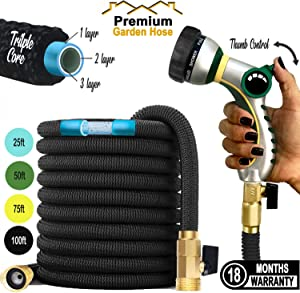 """Premium Garden Hose: 2020 Expandable Hose Retractable No Kink Triple Layer Latex Water Hose with 3/4"""" Brass Connectors and 8 Pattern Spray Nozzle - 75ft"""