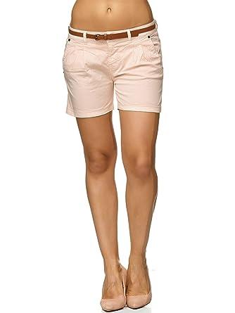 b128addcd4fcee Sublevel Damen D6053Z61713KBS Chino-Shorts Kurze Hose inkl. Gürtel aus  hochwertiger Baumwolle Beige XS