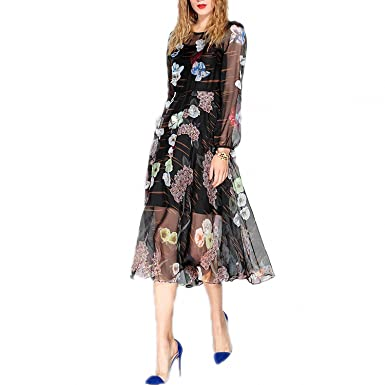 Venetia Morton Fashion Designer Runway Summer Dress Womens Long Sleeve Chiffon Vintage Flower Floral Printing Dress