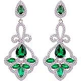 EVER FAITH® Femme CZ Victorian Style Fleurs Nœuds Boucle d'Oreilles Superbe Vert Ton Argent