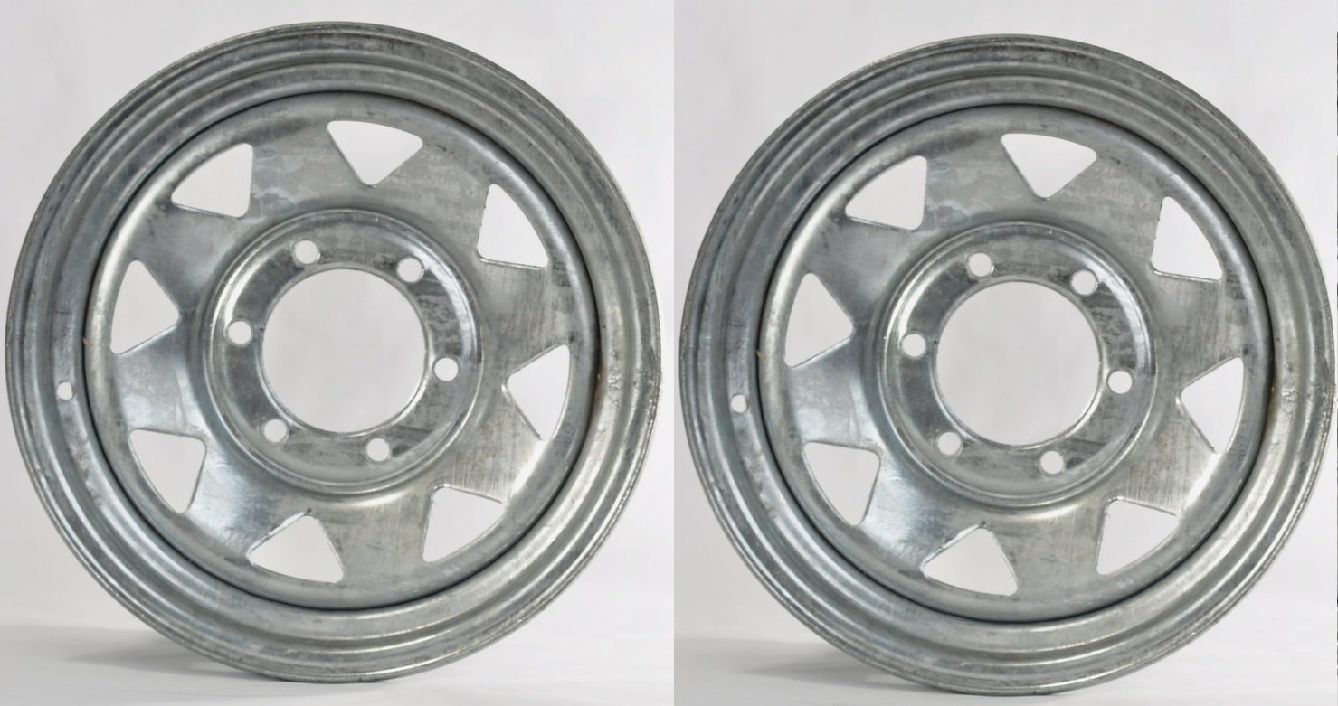 eCustomRim Two Boat Trailer Rims Wheels 15'' 15X6 6 Lug Hole Bolt Galvanized Spoke Design