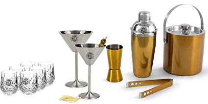 1 Tong And 2 Martini Glasses, 4 Whisky Glasses