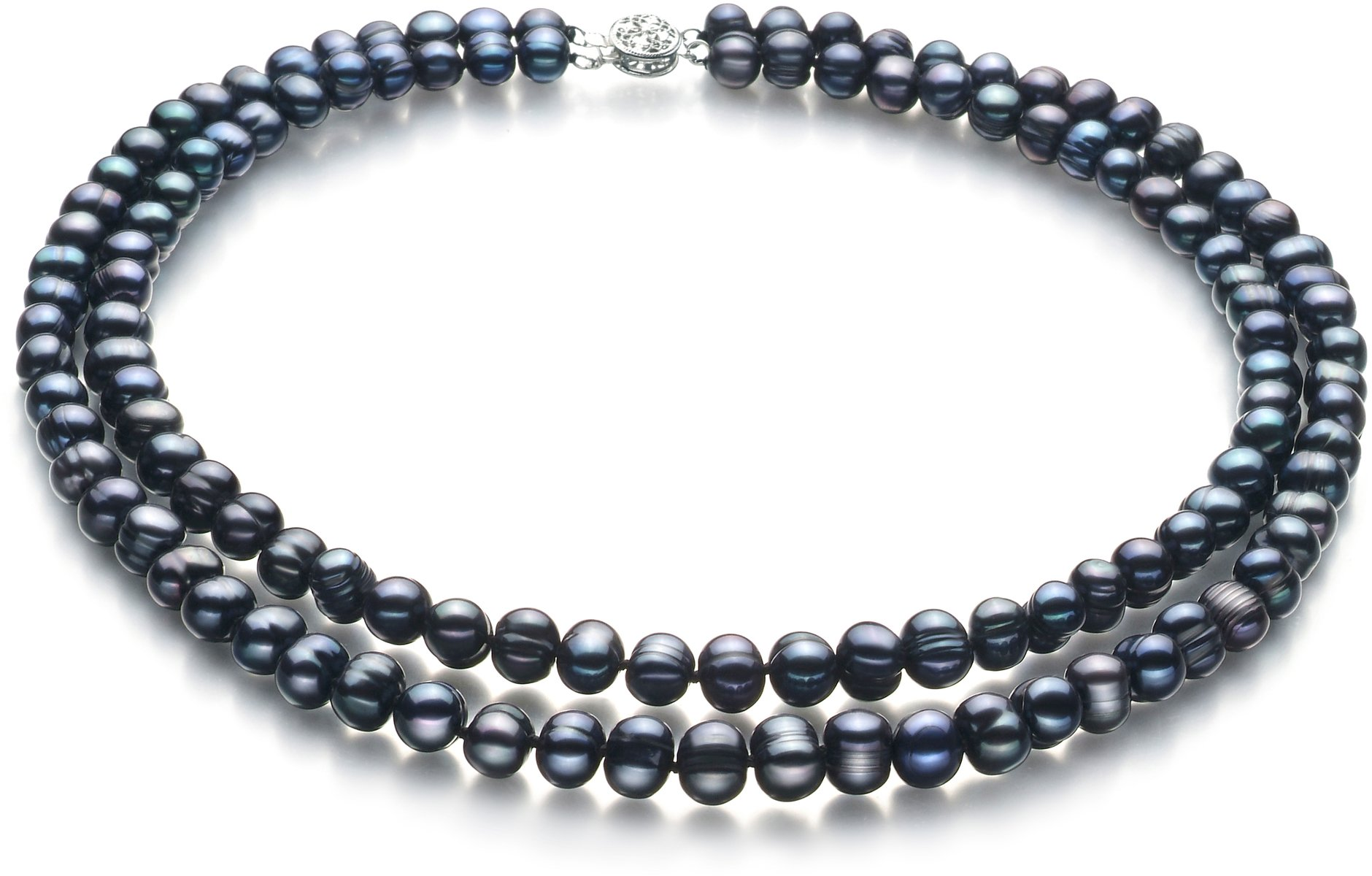 Eliana Black 6-7mm Double Strand A Quality Freshwater Cultured Pearl Necklace-16 in Chocker length