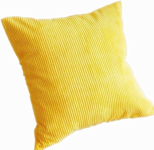 weimay cuadrado maíz núcleos cojín pana manta funda de almohada para casa oficina decoración, Lino, algodón, Amarillo, 45*45CM: Amazon.es: Hogar