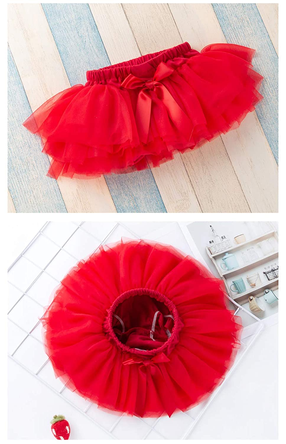 MAXENVISION Baby Girls Soft Tutu Skirt Toddler Ruffled Pants 0-24 Months