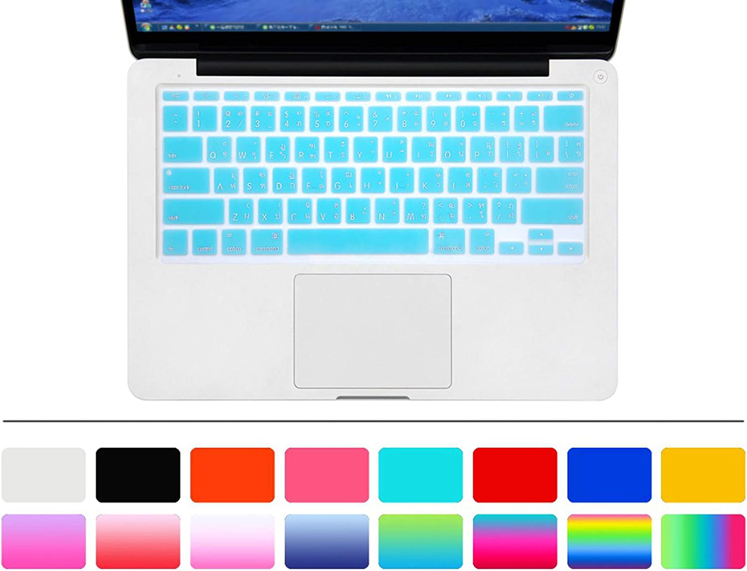 Zhanghouselan Thai Language Silicone Keyboard Cover Skin Protector Protective Film for MacBook Air 11.6 A1465 A1370 US Layout,Silver