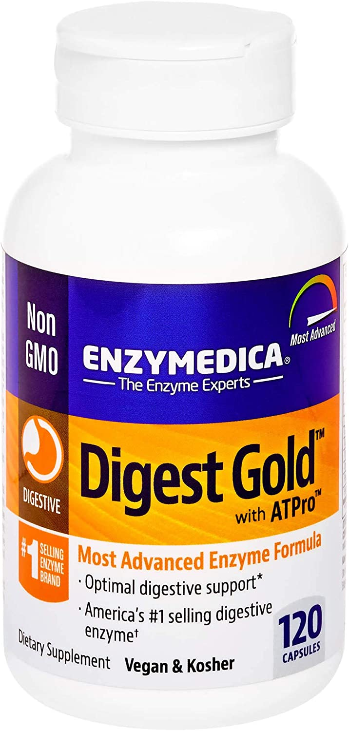 Enzymedica, Digest Gold with ATPro, Daily Digestive Support Supplement with Enzymes and ATP, 120 Capsules