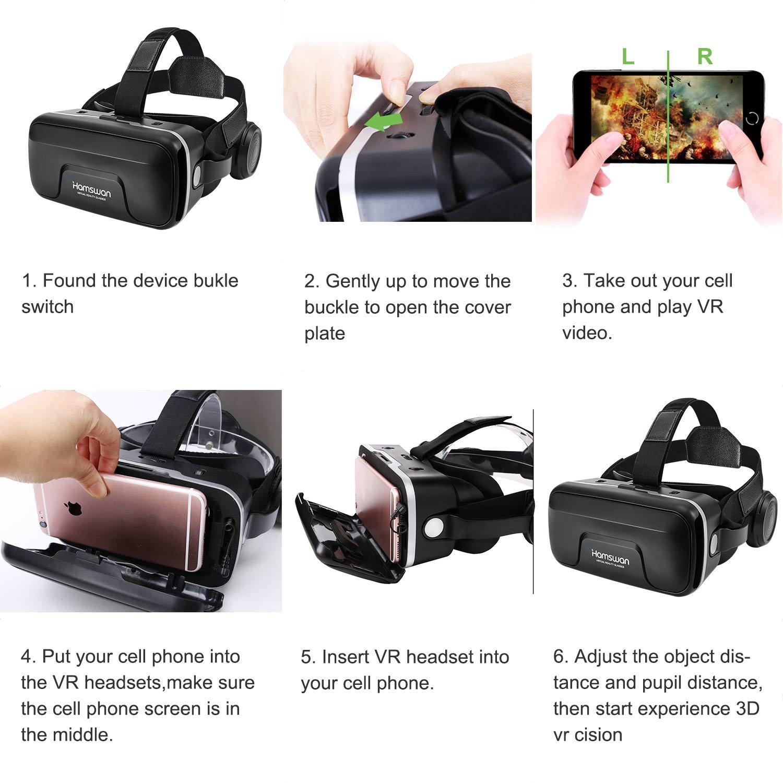 HAMSWAN 3D VR Auriculares 3D VR Gafas de Realidad Virtual Auriculares para Las películas 3D y Juegos Compatible con Todos los iOS y Android Smartphones en ...