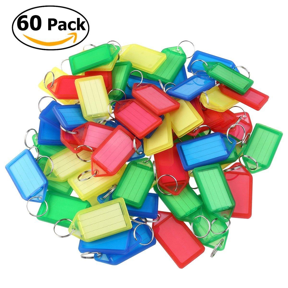 Porte-clé s bagages avec é tiquettes Porte-clé s Couleur alé atoire Lot de 60 Deanyi