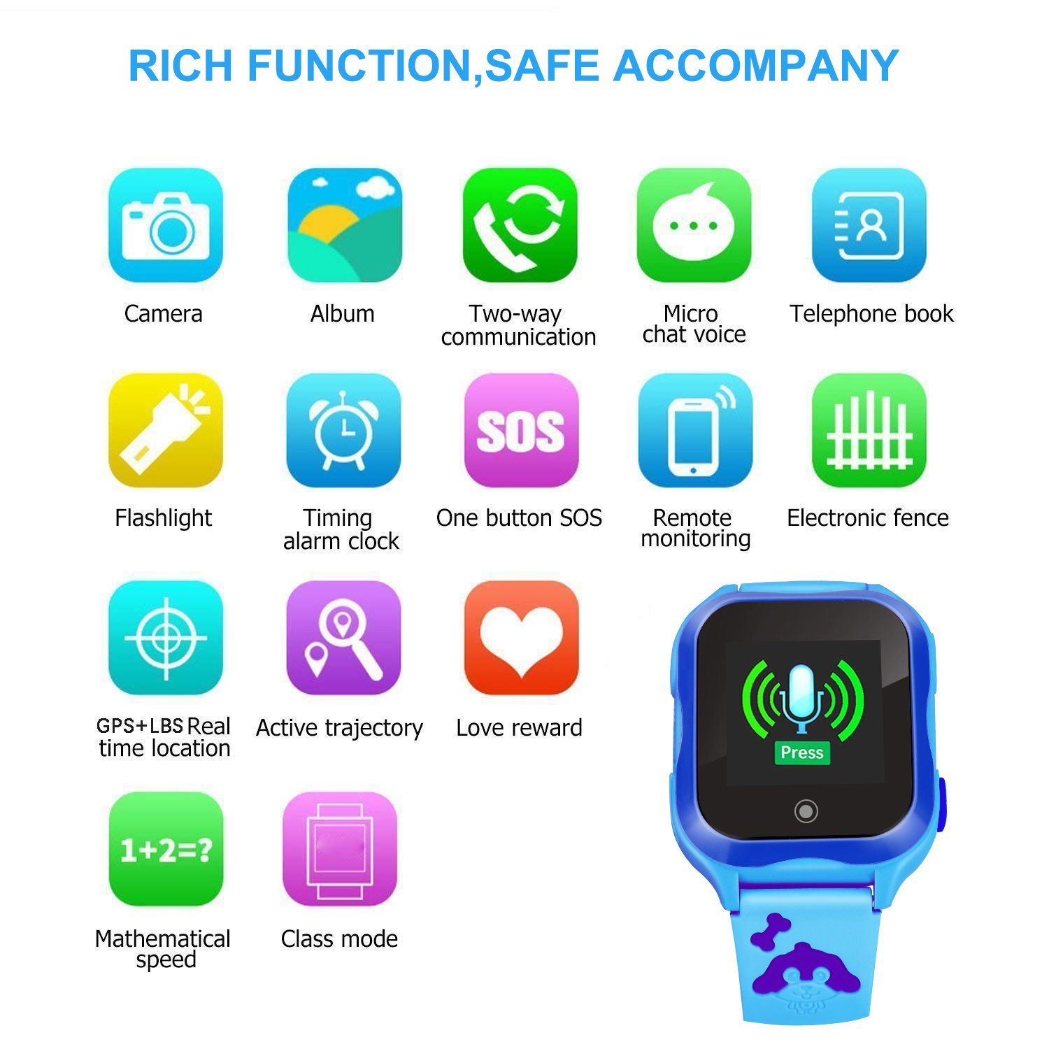 LJRYCQSSZSF Kids Smart Watch Phone GPS Tracker Ip67 Waterproof Kids Smartwatches Age 3-15 Boys Girls Touch Screen SIM Slot Educational Toys Phone 1.44 Inch Birthday Gift (Blue) by LJRYCQSSZSF (Image #7)