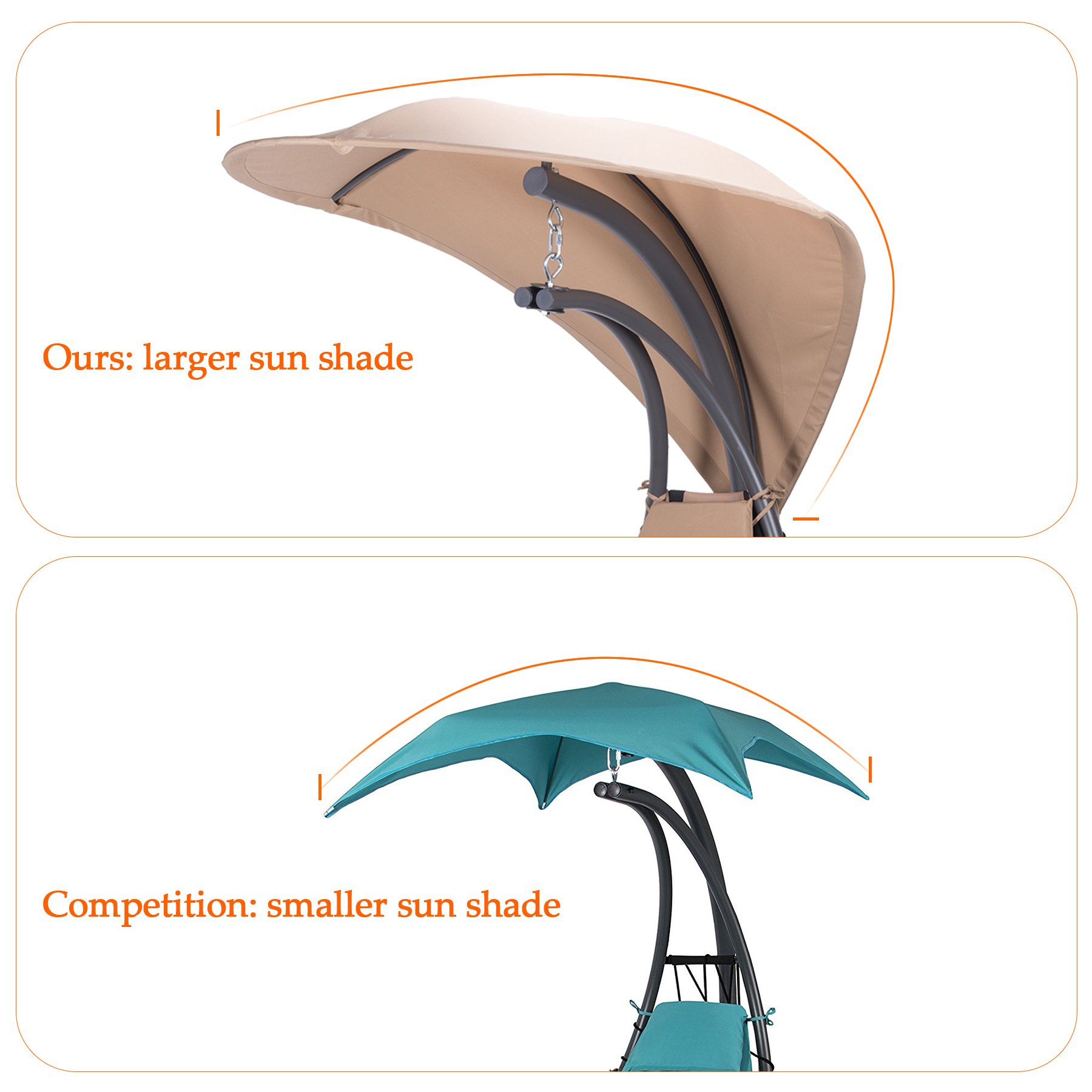 CO-Z UPGRADED Patio Hammock Swing Hanging Chaise Lounger Chair with EXTENDED Canopy Umbrella & Stand for Patio Backyard Outdoor Use by CO-Z (Image #4)